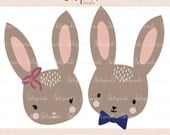 Mr & Mrs Bunny  - SVG and DXF Cut Files - for Cricut, Silhouette, Die Cut Machines // scrapbooking // paper crafts // #223