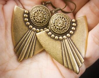 Art Deco Earrings Bohemian jewelry Tribal earrings Hypoallergenic earrings Niobium earrings Clip on earrings Non pierced earrings Screw back