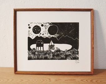 Lake and all · original linocut · Limited Edition · DIN A5