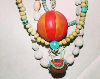 Hot air balloon necklace-handmade-fimo-