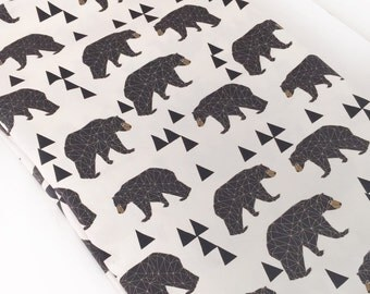 Organic cotton bamboo fleece, geo bears