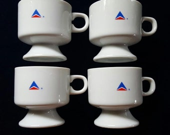 Delta Airlines Sets of 4 Footed Cups