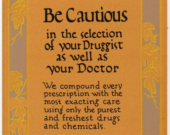 Vintage 1920s Hand Painted Poster for Pharmacy Store Advertising Display Sign w/ Art Deco Border