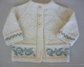 Hand knitted baby cardigan in natural white.Knit baby girl cardigan.Newborn cardigan. Baby vintage cardigan.Knitted baby clothes