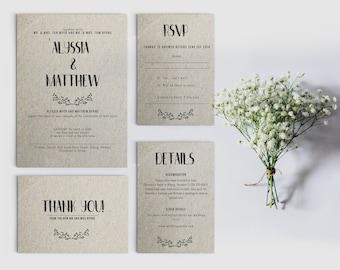 Rustic Wedding Invitation   Etsy CA