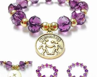 Gemini Bracelet - Purple Gemini Bracelet - Gemini Charm Bracelet - Zodiac Bracelet - Gold Gemini Charm Braceley - Elastic Gemini Bracelet