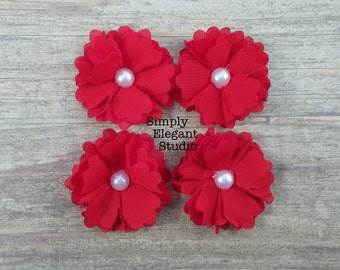 5 Small Red Layered Fabric Flowers with Pearls, Headband Flowers, Wholesale Flowers, Flower Supply