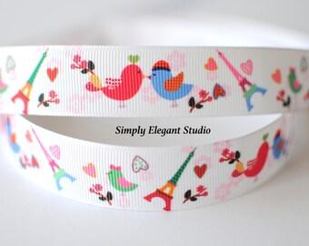 """7/8"""" Grosgrain Ribbon, Singing Birds Ribbon, Hair Bow and Craft Ribbon, Ribbon by the Yard"""