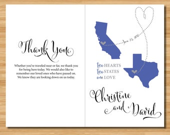 Custom Distance Heart Wedding Program - Two Hearts One Love - Wedding Party, Ceremony Details, Thanks - 8.5 x 11 inches, print and fold!