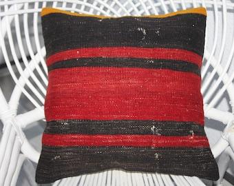 16 x 16 Kilim Pillow Cover 40 cm x 40 cm Vintage Turkish Kilim Rug Pillow Covers Cushion Covers Striped Throw Pillows Accent Pillows 126