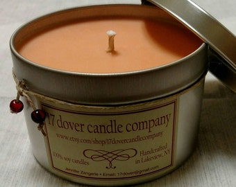 Large Tin 100% soy candle in Cool Citrus Basil