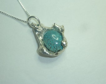 Water-cast Sterling Silver Pendant with Turquoise Cabochon