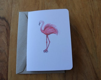 Handmade Flamingo Greeting Card
