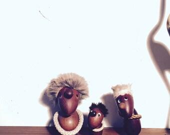Original Hans Bolling Optimist & Pessimist figures Trio • Teak figurines, Denmark • danish design • mid century decoration