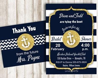 Nautical Bridal Shower Invite Printable Bridal Shower Invitation Navy and Gold Shower Invite Anchor Invitation Nautical Invitation BSNA02