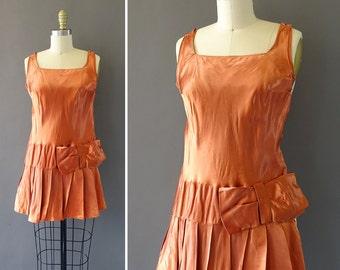 20s The Copper Dream Dress - 1920s Vintage Dress - Silk Drop Waist Dress w Bow - Rose Blush Rust Short Dress w Large Bow and Pleats