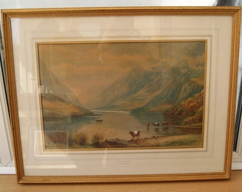 Antique Victorian Framed & Glazed Watercolour Landscape of Llanberis Lake, Snowdonia, Wales by Milton Drinkwater