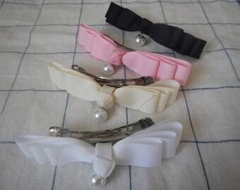 4 color bows, 4 color ribbon bows, Ribbon Bow, Girls hair bow, Women hair bow, Pearl hair bow