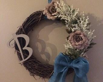 Handmade Customizable Letter Twig Wreath