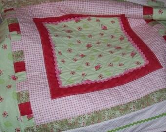 Girls Ladybug Flannel Quilt, super soft, warm