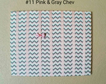 Pink, Gray, White Chevron Hair Bow Holder & Headband Organizer  /Padded Hair Bow Organizer with Hooks for Headbands