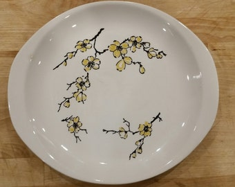 CLEARANCE Vintage Yellow Dixie Dogwood Platter Stetson Marcrest 1960's USA Hand Decorated Mid Century Americana Must