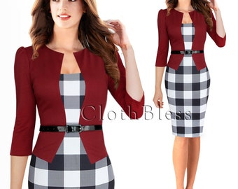 Women Pencil Skirt Dress for Work Bodycon Dress with Faux Jacket and faux Belt