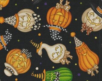 Creepy Hollow -  Per Yd - QT - Halloween Pumpkins on Black
