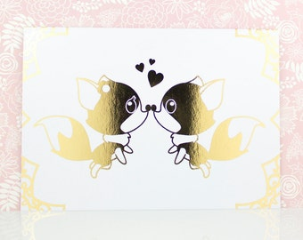 Foxes Valentine's Day Card, Gold Foil, Anniversary Card Boyfriend, Anniversary Card Girlfriend, Anniversary Gift, Husband, Wife, Romantic