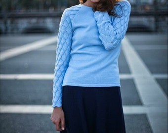 Jumper with lace-sleeved sky-blue