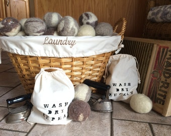 Homemade Wool Dryer Balls with Bag