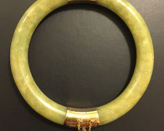 Vintage Green Jade & 14k Gold Chain Clasp