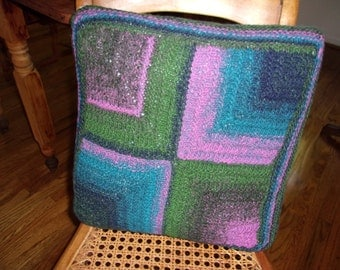 Noro yarn square pillow