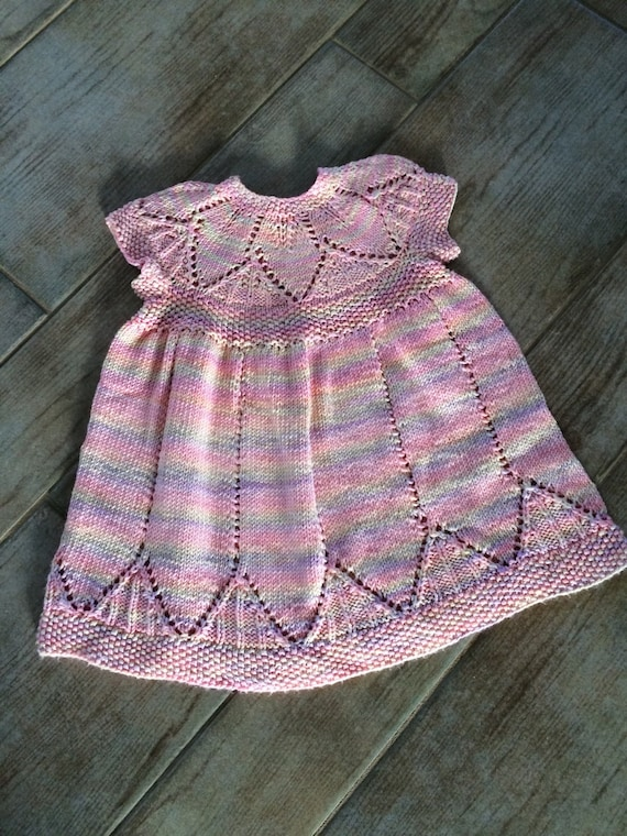 Baby Girl clothes, dress hand knit, pastel pink lavender, nice drape, size 1-4 months, Lace leaf pattern, unique, only one available