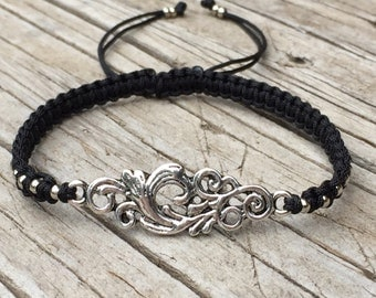 Swirl Bracelet, Swirl Anklet , Adjustable Cord Macrame Friendship Bracelet, Gift for Her, Macrame Jewelry, Vine Bracelet, Braided Bracelet
