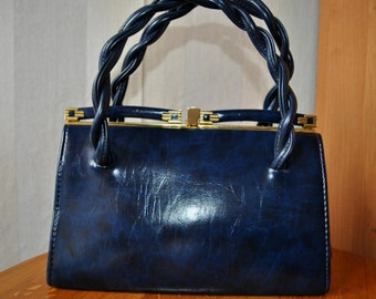 Vintage faux navy leather bag evening bag purse from 60's with golden details