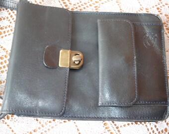 Vintage small dark navy solid genuine leather shoulder bag cross body bag