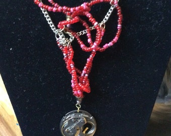 Abstract octopus- watch art-red beaded necklace-B.B. Manning