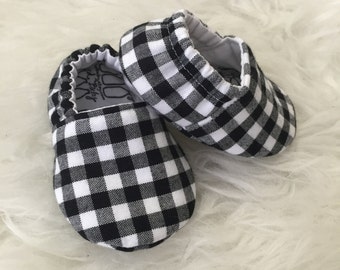 Black and White Plaid Soft Sole Baby Toddler Shoes