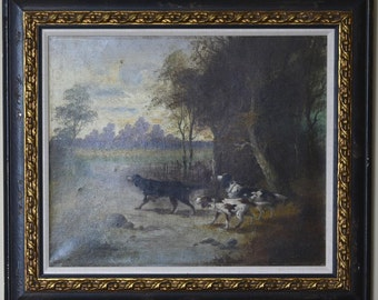 "Eugene F. Tourrette Original Oil ""Setters on Point"" 19th Century"