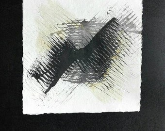 Abstract original painting propeller from black and gold ink