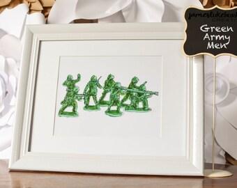 Original Art Print - Green Army Men