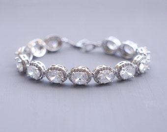 Bridal bracelet, Crystal Wedding Bracelet, Cubic Zirconia Bracelet, Wedding Bracelet, Crystal Bracelet, CZ Bridal Bracelet, Ref JASMINE
