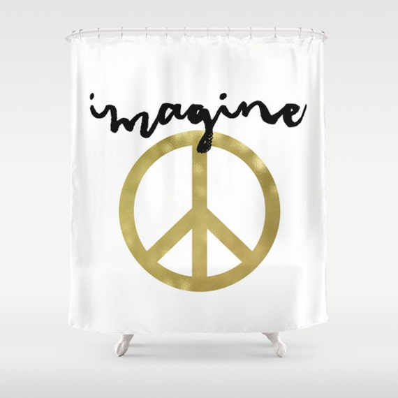 Gold Shower Curtain Imagine Shower Curtain Peace Sign
