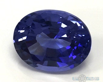 Tanzanite. Oval 10x8mm. 3 Ct. Monosital Lab created gemstone. US@GEMS