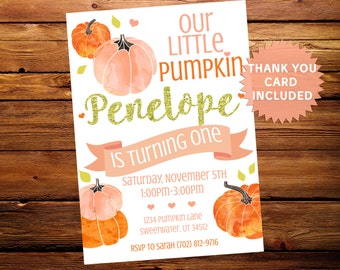 Our Little Pumpkin Birthday Invite Invitation Party Pink Gold Orange 5x7 Digital Personalized