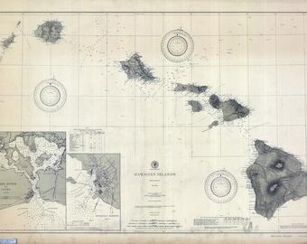 1902 Nautical Map of the Hawaiian Islands