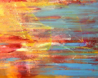 """Large 30x40 Abstract Acrylic Painting, Orange Yellow and Red Painting, Blue Abstract, Contemporary Art on Canvas- """"Putting out Love"""""""