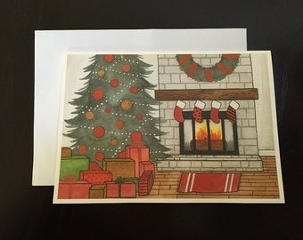 Tree and Mantle Holiday Greeting Card