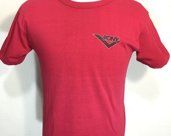 90's pony reversible t shirt red gray color mens